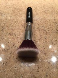 Use our Kabuki Brush range for a mineral makeup application.  http://www.amazon.com/gp/customer-reviews/R730L4LUJZCVS/ref=cm_cr_pr_rvw_ttl?ie=UTF8&ASIN=B00RY9Q1LC