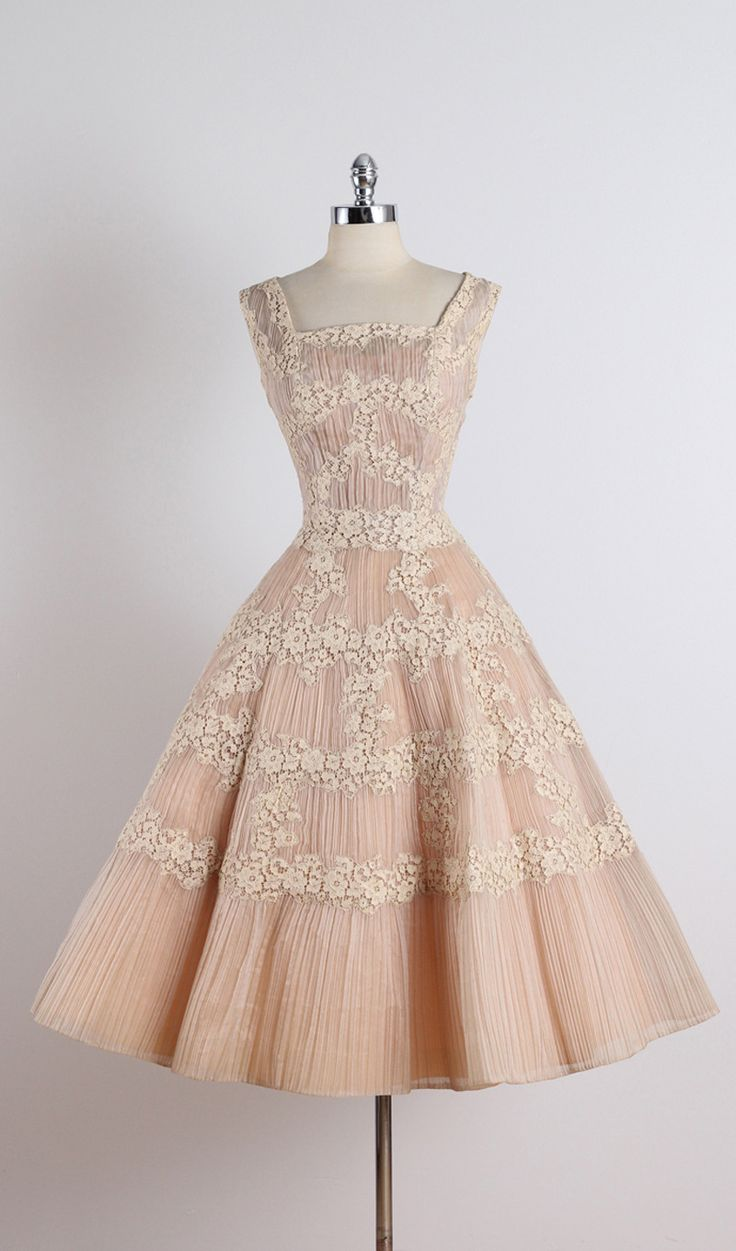 Vintage 1950s Ceil Chapman Nude Organza Lace Party Dress at 1stdibs ...swoooon