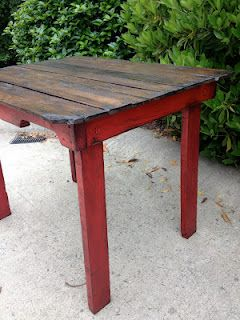 @Tracy Rudisill - Another idea to use your Annie Sloan chalk paint on... :)  Weathered Pieces: Pallet Table - how cool with those red legs!