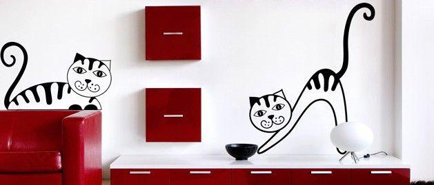Kočka C (1357) / Samolepky na zeď, stěnu a nábytek