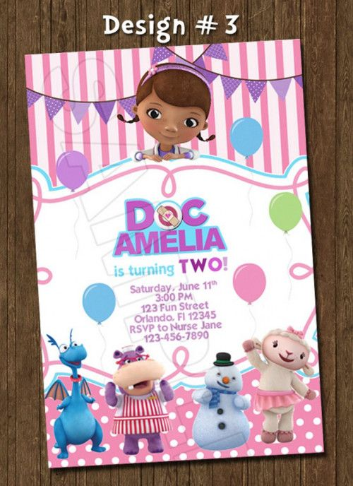 Doc McStuffins Dottie Photo Birthday Party Invitation