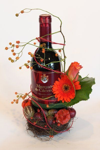 Bottle corsage red/orange