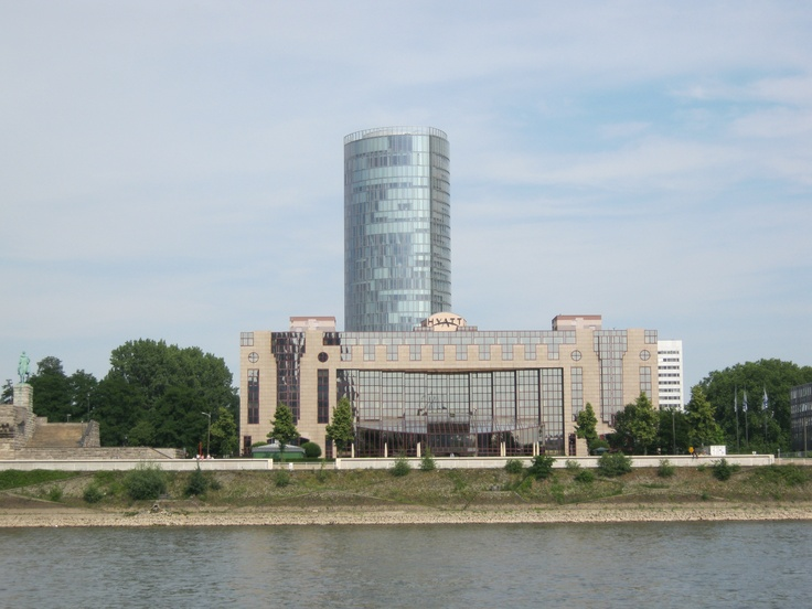 The glass 'Cologne Tower' behind the Hyatt Hotel which looks out over the Rhine on the cathedral.