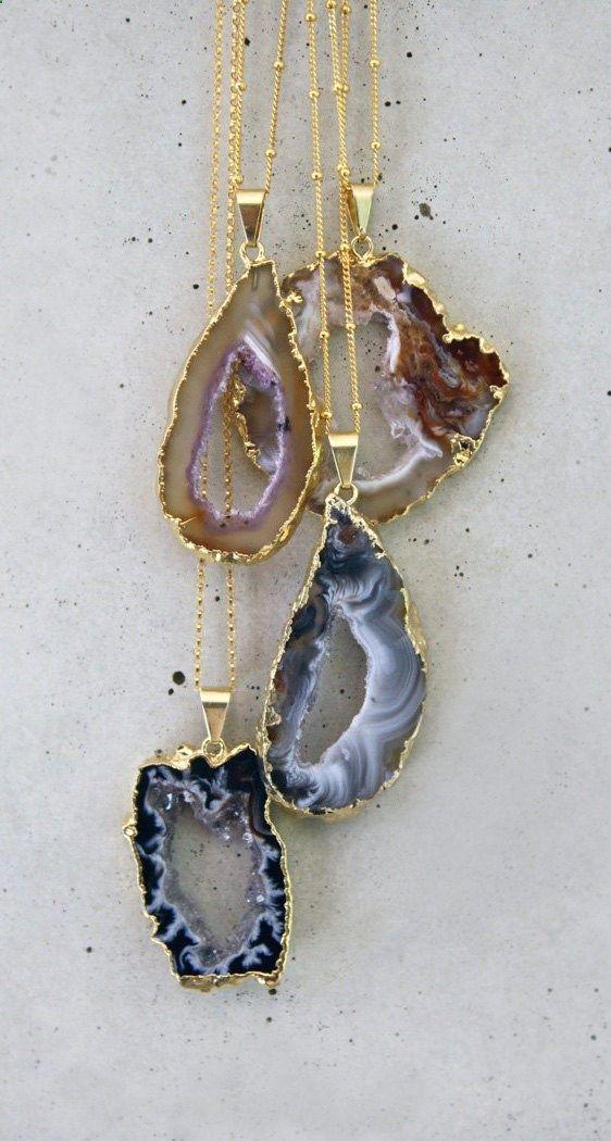 Agate geode druzzy necklace