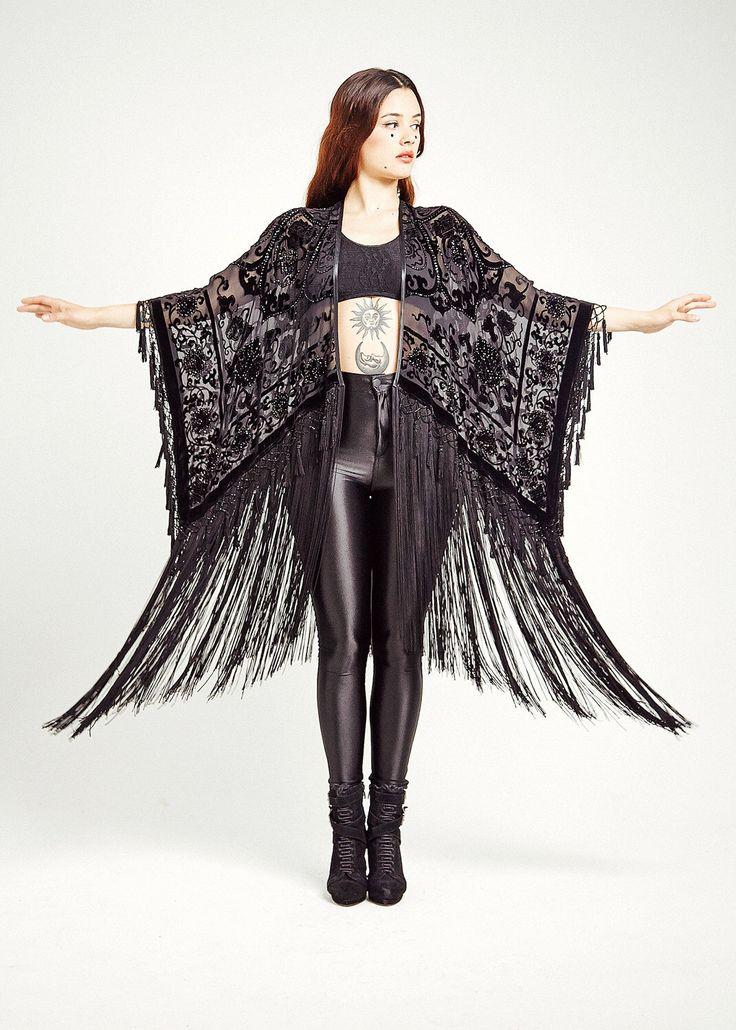 Velvet Fringe Kimono - The Midnight Lace Luxe by shevamps on Etsy https://www.etsy.com/listing/234655889/velvet-fringe-kimono-the-midnight-lace