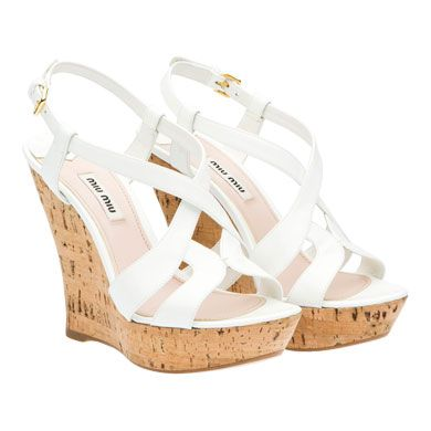 miu miu leather white wedge