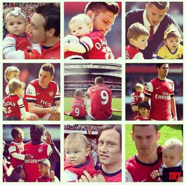 Arsenal players with their mini Gooners.