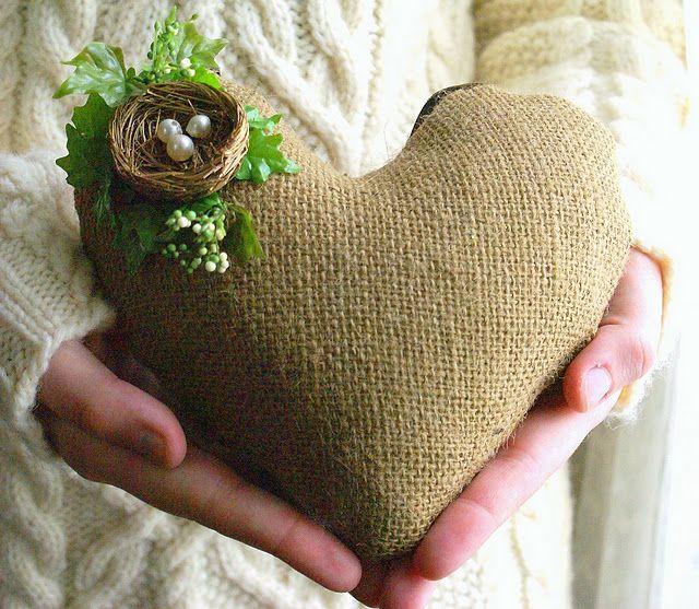 burlap heart