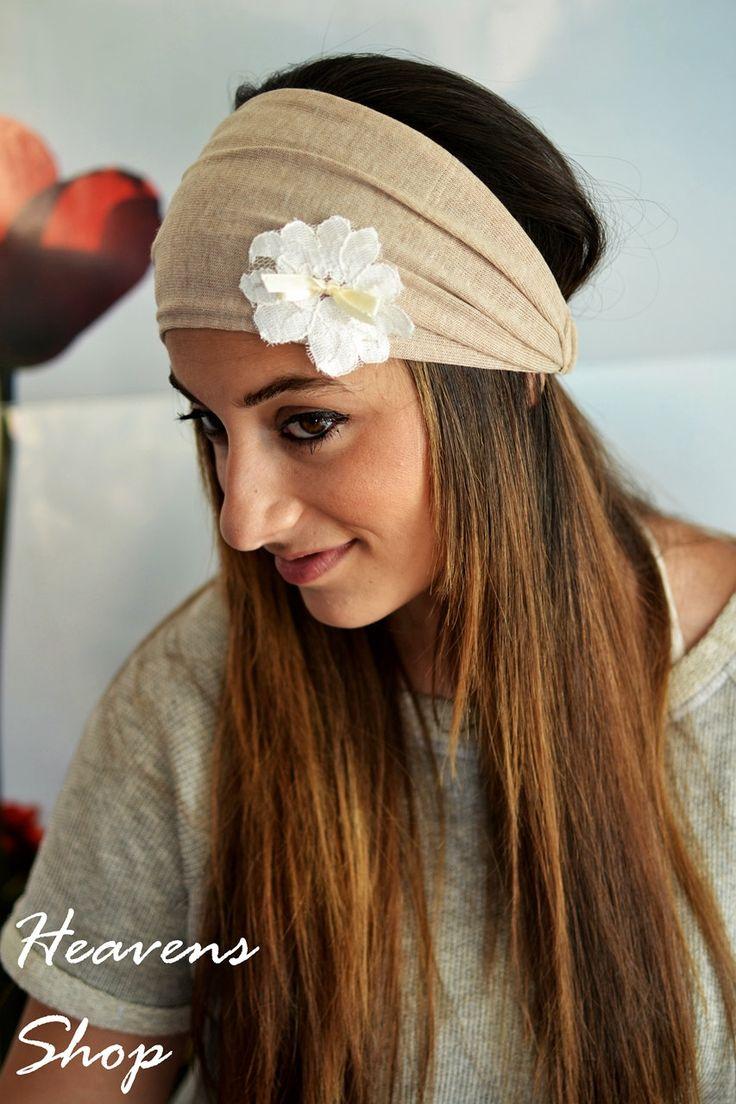 Beige Headband, White Lace, Flower Girl, Headband, Stretchy Headband, Elastic…