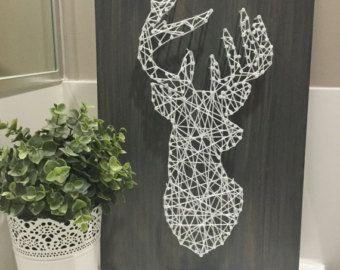 Deer Silhouette String Art von PurplePalletDesigns auf Etsy