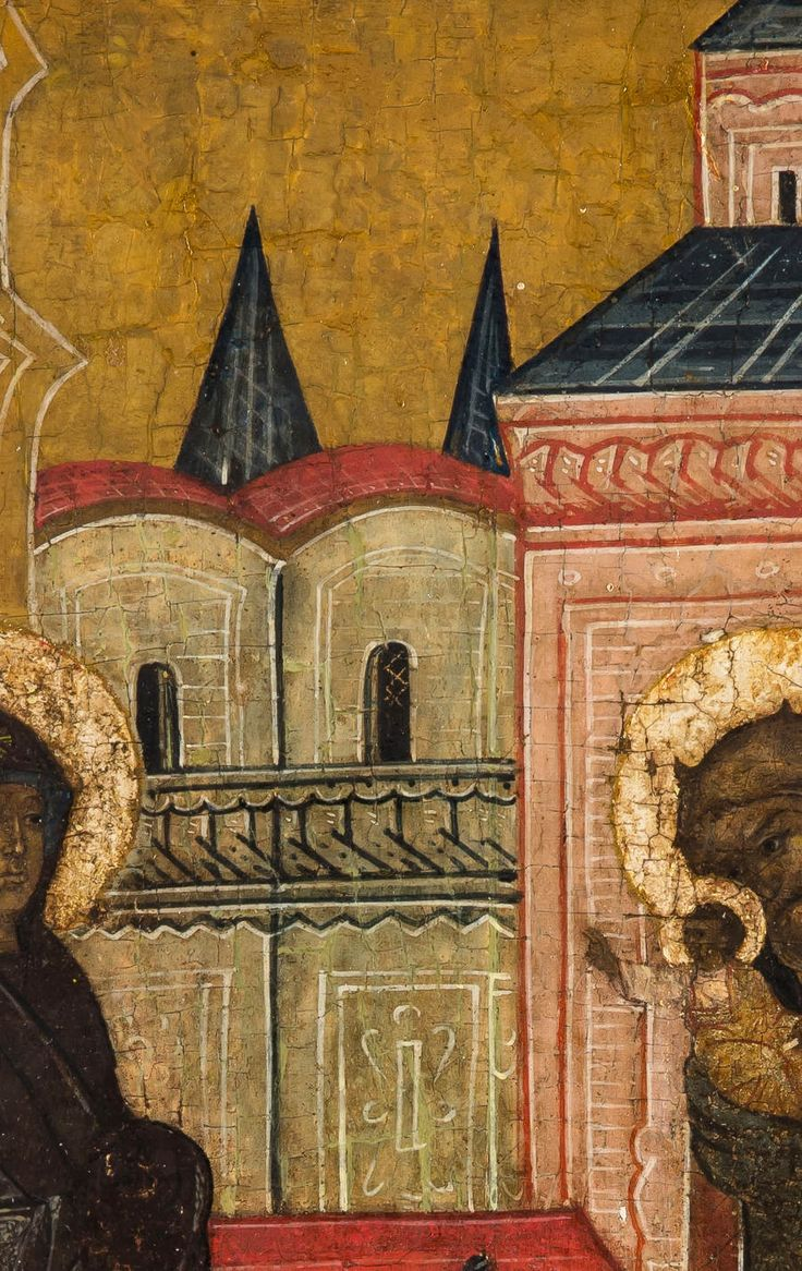 Detailed view: PP056. Presentation of Christ in the Temple- exhibited at the Temple Gallery, specialists in Russian icons