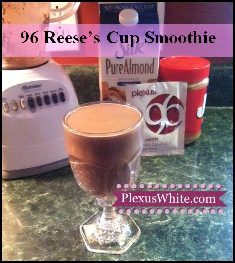 My fav protein shake! Only 96 calories and zero sugar in each packet of Plexus 96!!  Reese's Cup Smoothie  * 8-10 oz. Almond Milk * 1 Plexus 96 (Chocolate) * 1-2 Tbsp Natural Peanut Butter or Almond Butter www.plexuswhite.com