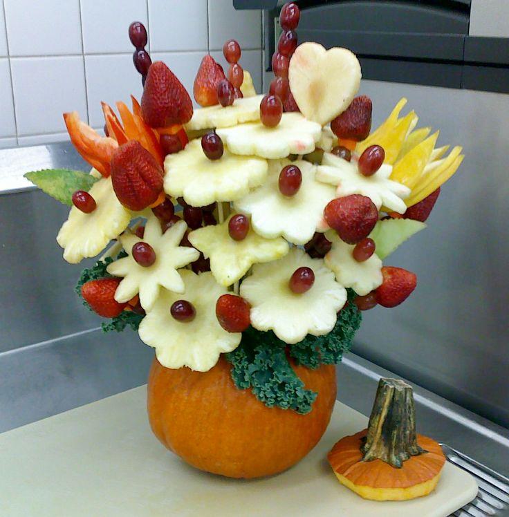 Pumpkin fruit bouquet   Fruit carvings   Pinterest