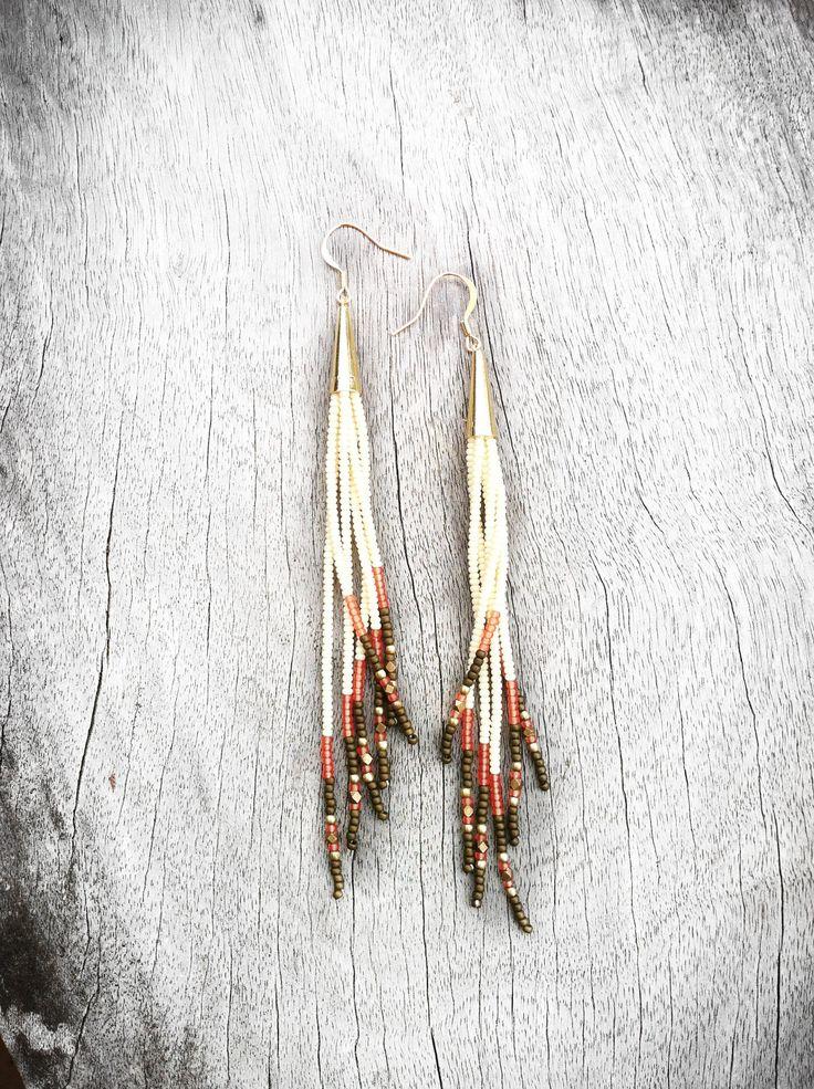 Long Seed Bead Earrings, Beaded Fringe Shoulder Dusters in Ivory, Bronze, Pumpkin Spice, and Gold. Native American Inspired, Tribal Earrings. $44.00, via Etsy.