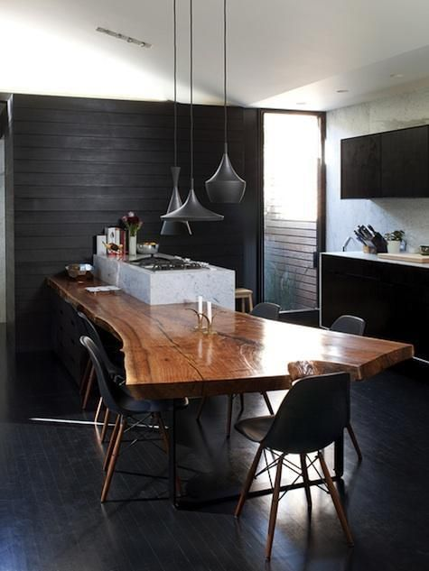 walnut slab from aborica in marshall, tom dixon ligting, dwell founder's kitchen, floor is great too