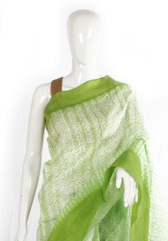 Light Green Shibori Mulberry silk Handloom Saree