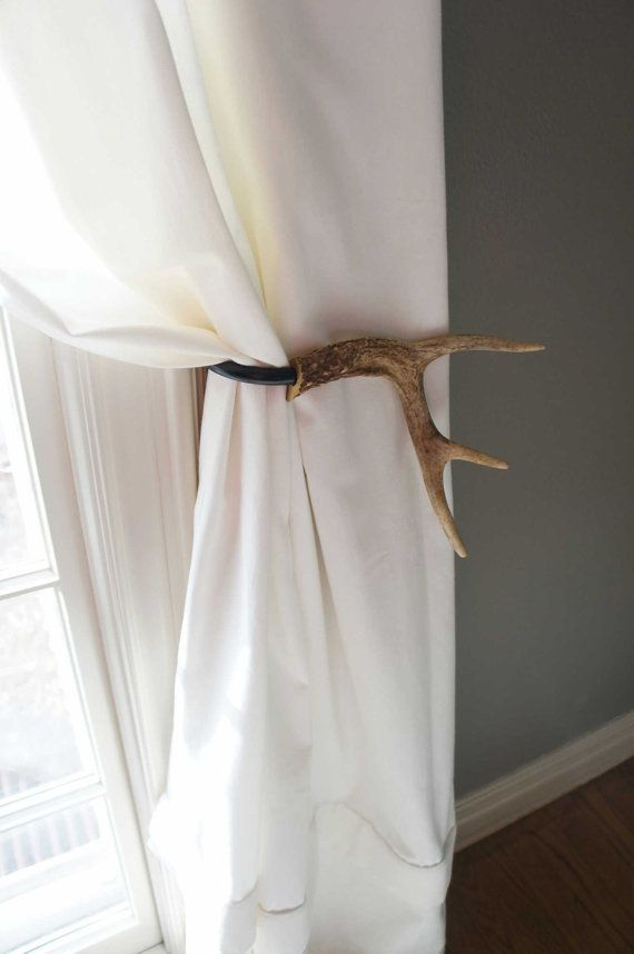 Curtain Tieback Deer Antler Tie Back Holdback Cabin Decor Primitive Natural Rustic Woodland via Etsy- This has Wallace's name all over it!!!