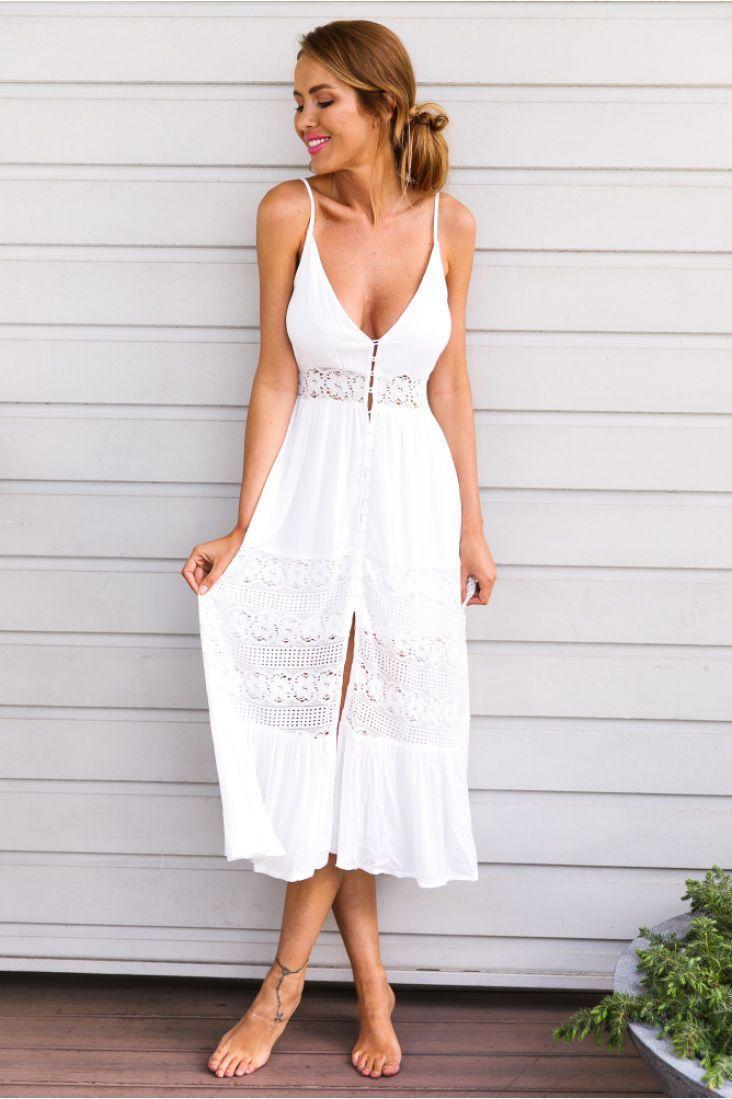 e5da505f317 White Spaghetti Strap Lace Slit Flowy Single Breasted Beach Boho Maxi Dress   love  maxi  stylish  cute  life  boho  amazing  bohemia  shopping  hashtag