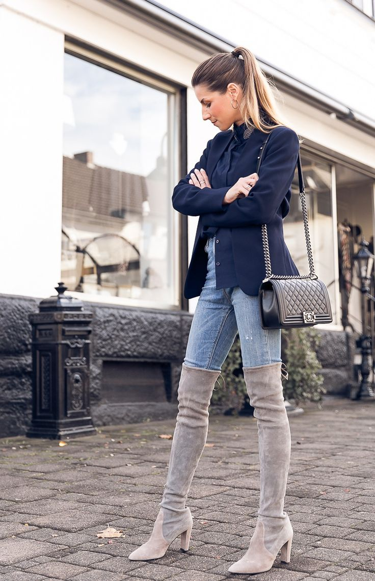 The boots are back :: overknees, blazers, stand-up collar blouse & jeans