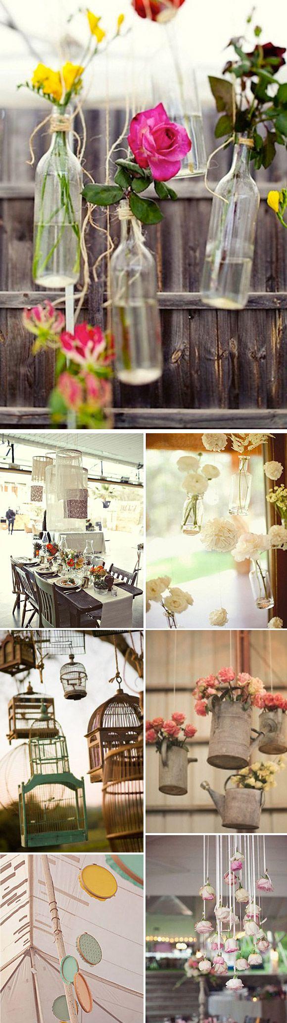 Decoraciones colgantes para bodas y fiestas: Mil ideas para decorar la carpa de la boda o el exterior con banderines, guirnaldas de luces, pompones, etc.