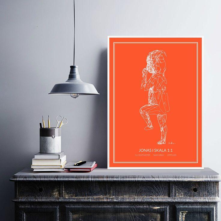 Poster 1, white/orange