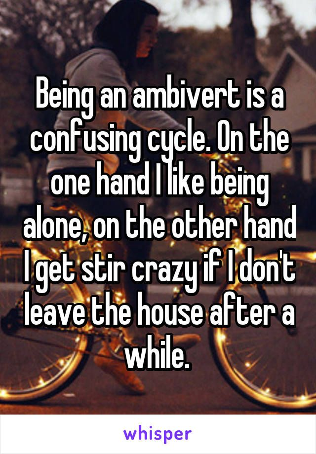 Being an ambivert is a confusing cycle. On the one hand I like being alone, on the other hand I get stir crazy if I don't leave the house after a while.