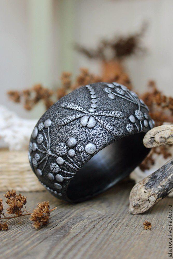 Polymer clay bracelet / Купить Браслет широкий из полимерной глины Стрекозы - браслет, браслет полимерная глина, браслет широкий