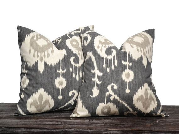 "18"" Charcoal Grey Ikat Pillow Set - Set of 18 x 18 Inch Neutral Pillow Covers - Charcoal Grey, Cream and Light Grey - TWO PILLOW COVERS"
