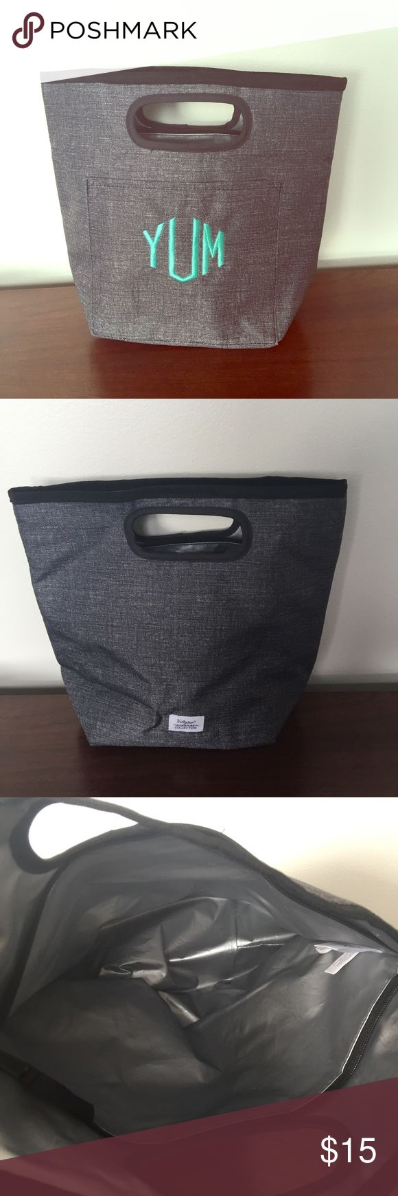 """YUM Lunch Box NWOT: Thirty-One Go-To Thermal in Charcoal Crosshatch Grey pattern with """"Yum"""" embroidery. Wipeable & washable. One exterior pocket. Zipper closure. 11""""H x 12.5""""L at top opening 8""""L at base x 5""""D Thirty-One Other"""