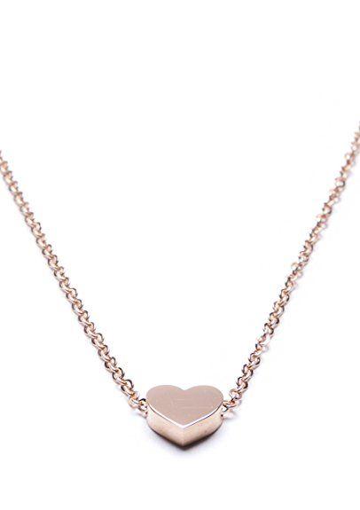 #HappinessBoutique - #Collana minimal in oro rosa con pendente a forma di #cuore senza nickel e piombo #freenickel #freepiombo