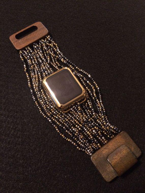 "Apple Watch Band Bracelet ""Beaded Boho"" Band Large Wooden Clasp 38 mm 42mm…"
