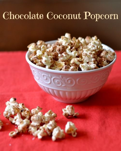 Chocolate Coconut Popcorn - perfect winter snack or dinner appetizer while waiting for a casual dinner. Chocolate makes it seem festive! Great healthy snack recipe.