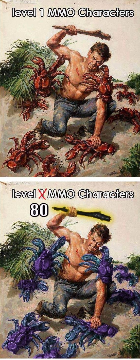 Two things cross my mind when dungeon crawling in MMOs... Why are the magic crabs always better than me and why are the blue ones always significantly stronger?