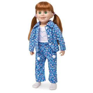Slumber Solutions: Jenna has no problem falling asleep in these cozy pajamas. In warm weather she tops off her drawstring pants with her sparkly applique tank top, and in cooler weather she adds the matching long sleeve button shirt. Pom-pom socks will keep her toes warm.