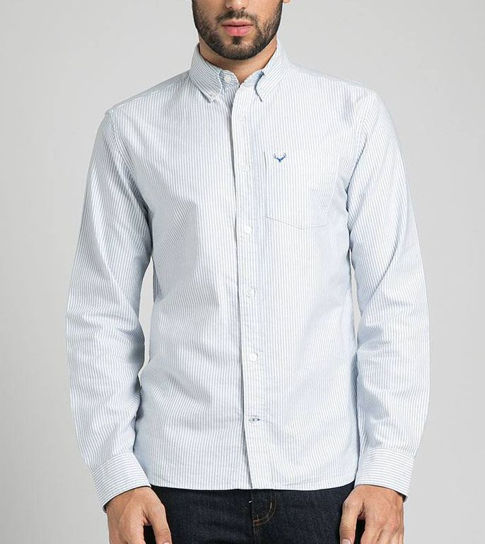 Men Plaid Oxford Stripe White Blue by Ellsworth. A long sleeves shirt top with stripes pattern and front pocket. Simple shirt with stripes pattern, perfect shirt for casual style, pair ti with your jeans and boat shoes for casual style. http://www.zocko.com/z/JJ4FF