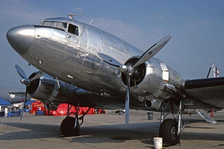 """""""DC-3A, s/n 2053, NC41HQ @ Hanscom Field (KBED; Bedford, MA), 1997-06-21. #beautiful"""""""