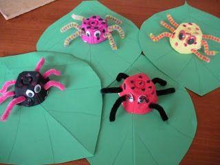 Blad laten beschilderen en spin op draadje aan blad vastmaken zodat spin over blad kan lopen
