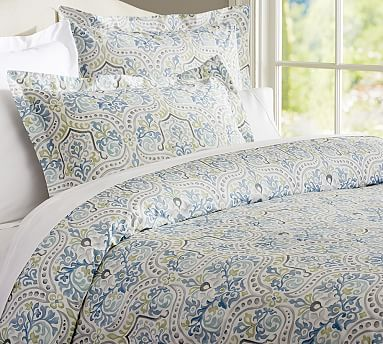 Like this for the master bedroom. Think it would help tie all our colors together. And it's a pattern that's not floral or paisley. // Jessie Organic Duvet & Sham #potterybarn