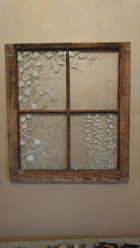 Old Painted Windowcustom Ordered Windowsvintage Window Crafts Window Decor Window Pane Art