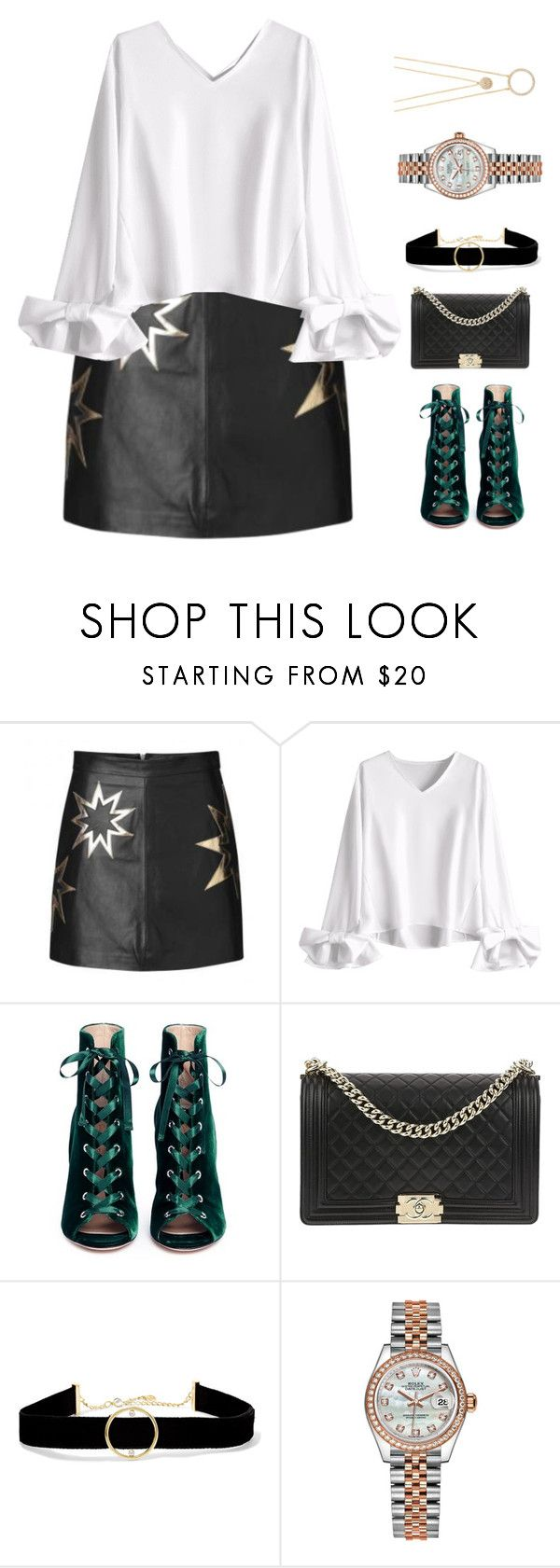 """""""~twinkle twinkle~"""" by queenshaima ❤ liked on Polyvore featuring Gianvito Rossi, Chanel, Anissa Kermiche, Rolex, Kate Spade and StarOutfits"""
