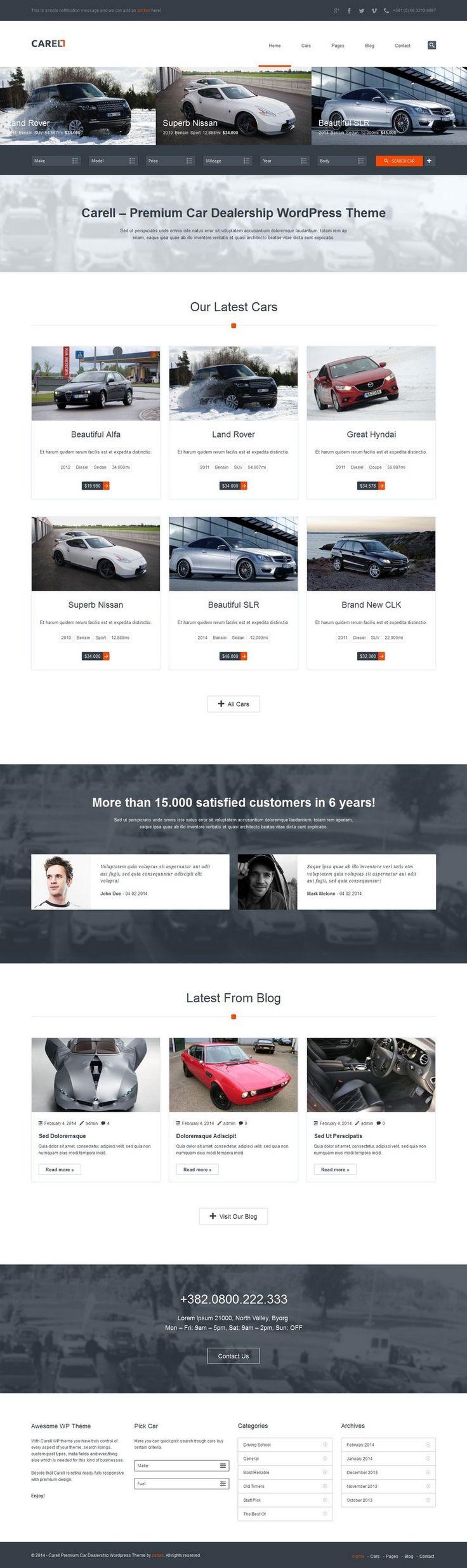 Carell - Responsive #WordPress Theme for Real Estate, Car Dealers http://www.themesandmods.com/premium-wordpress-themes/carell/