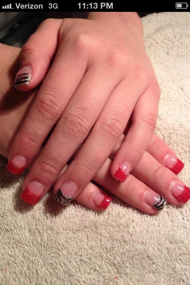 Red & black zebra acrylic nails