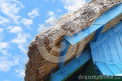 Architecture detail of an house with reed roof from Tulcea