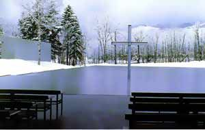 Tadao Ando...imagine a wedding or church service overlooking this beautiful creation; out in the open, with a floating cross...amazing.