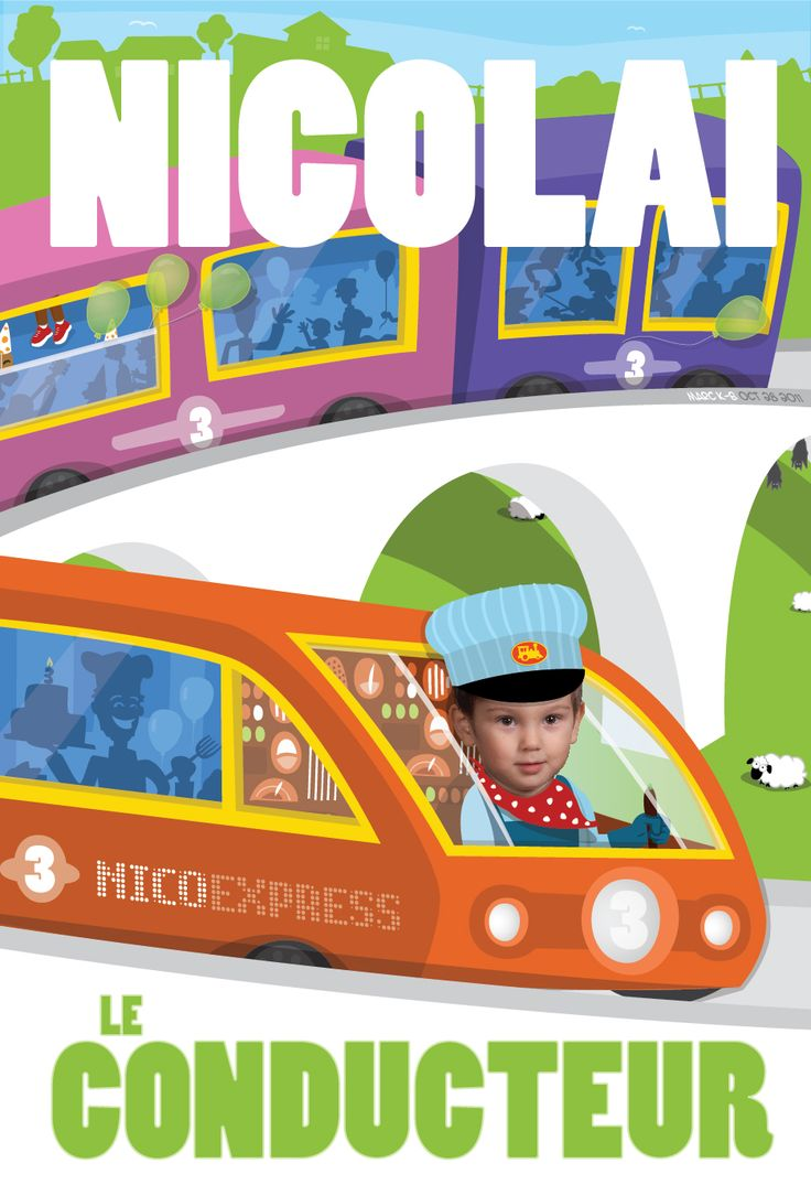 A birthday party on a train for Nicolai on his 3rd birthday!  Get in touch for your own custom birthday poster.