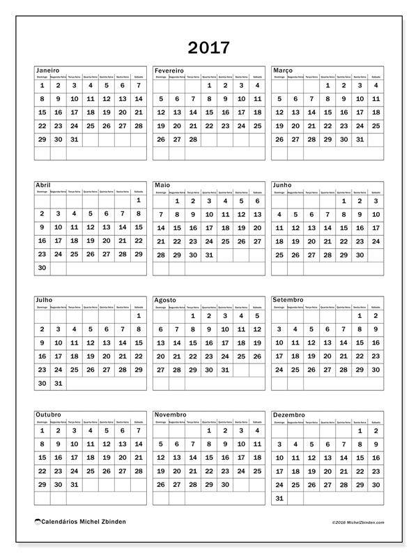 2017para imprimir, livre. Calendário anual : Johannes (D). A semana começa no domingo