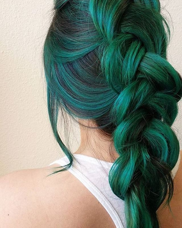 25 unique dark green hair ideas on pinterest green hair green dark green hair color made into large braid in black roots pmusecretfo Image collections