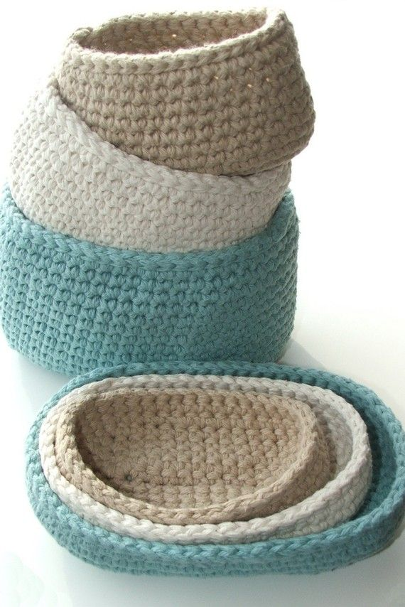 Oval Cotton Storage Bins #crochet pattern from #knotsewcute $2.99 on Etsy or Ravelry