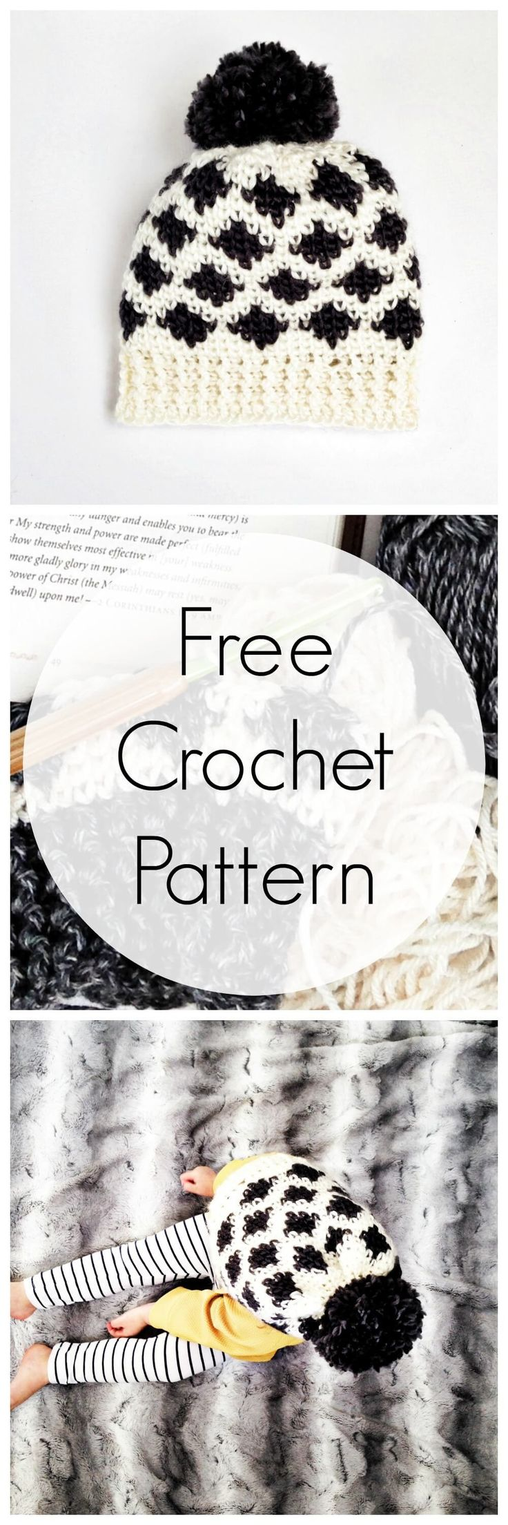 Crochet hat pattern. Make this modern crochet hat in toddler or adult size. Video tutorials for special stitches & a tip to make your own color charts for crochet.