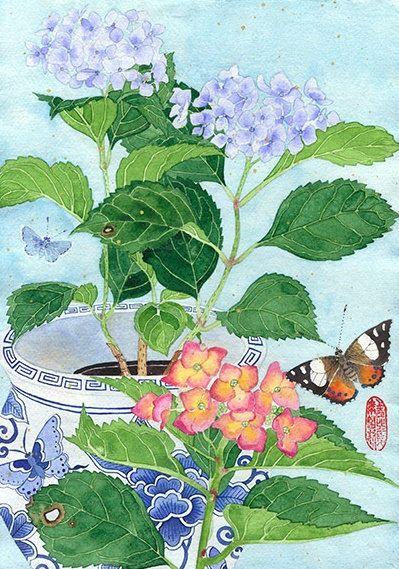 Hydrangeas: watercolour digital print on by GabbyMalpas on Etsy